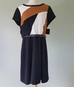 Ellen Tracy work dress black & brown size 16 nwt